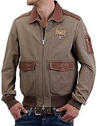 Aeronautica Militare Veste partie cuir Brown 529ct34