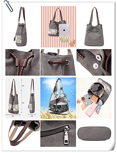 Linshe Damen Handtasche Canvas Shopper mit Druck-Design des Spitzenmusters Schicke Einkaufstasche Elegante Schultertasche Umhängetasche Frauen Schulterbeutel Retro Taschen schwarz