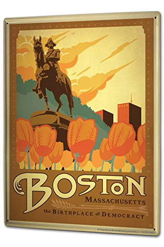 Blechschild XXL Stadt Boston Massachusetts Tulpen George Washington Statue (Boston-statue)