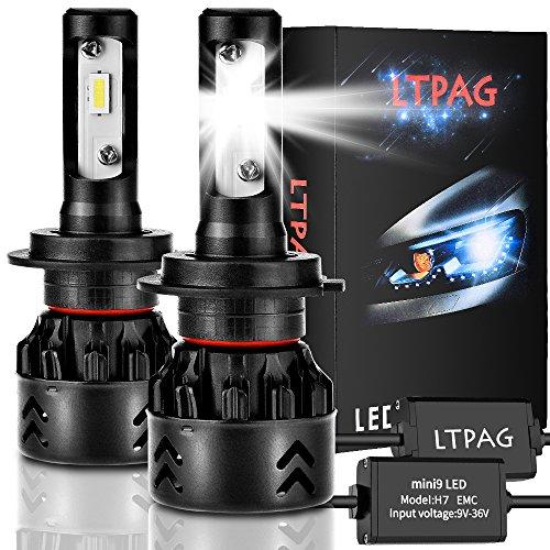 H7 LED Scheinwerferlampe Birnen,LTPAG 2 Stück CSP 60W 12000LM LED Scheinwerfer Birne Wasserdicht IP68 6000K Weiß Super Hell Autoscheinwerfer Kit für All-in-One Umrüstsatz (Wasserdichte Led-scheinwerfer)