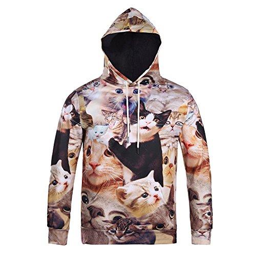 2018 Neue überrascht Katzen Hoodie flauschige Kuscheltiere verängstigten Katze Gesichter Awesome Hoody Sweatshirt Frauen Männer 3d Drucken Trainingsanzug, L