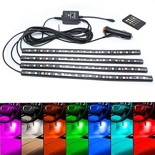 Preisvergleich Produktbild Jojoo 4 LED-Leuchtstreifen, 11,9 cm, DC 12 V, Mehrfarbig, mit Fernbedienung, Auto-Leuchten, Atmosphärisches Licht, KFZ-Ladegerät enthalten, MA006