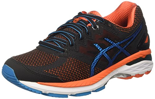 Asics Gt-2000 4, Scarpe da Corsa Uomo, Nero (Black/Blue Jewel/Flame Orange), 43 1/2 EU - 2000 Corsa