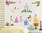 #4: The Splash Cute Princess Wall sticker (Multicolor, Wall Covering Area - 110(w) x 85(h) cm)