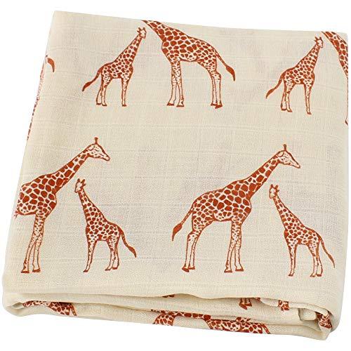 LifeTree Sommer Weichen Musselin Pucktücher, 120x120cm Bambus/Baumwolle Swaddle Blanket, Mullwindeln für Junge und Mädchen (Giraffe)