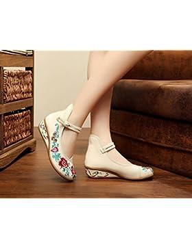 Y&M Zapatos bordados, lino, leng