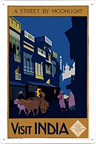 Tin Sign of Retro Vintage Travel Poster India A Street By Moonlight (20x30cm) By Nature Scene Painting