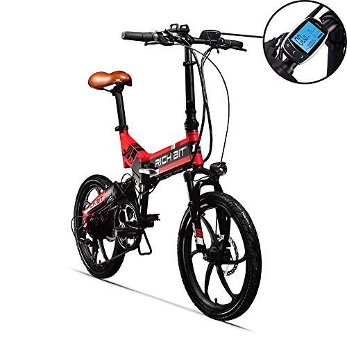 Rich Bit® RT 730 Electric Bike eBike Klapprad 250 W * 48 V 8 Ah LG Akku 7Speed 7 Gängen ausgestattet Handy-Ladegerät und Halter Dual Mechanische Bremse, 50,8 cm