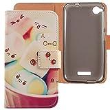 Lankashi PU Flip Leder Tasche Hülle Case Cover Schutz Handy Etui Skin Für HTC Desire 320 Lovely Design