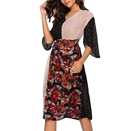 ❤HappyQn❤ Damen Einfach Beiläufige Bequeme Blume Print Spleiß Slim Retro Maxikleid,Ausgestellte Ärme bedrucktes Kleid Abendkleid (Fossil Cecil)
