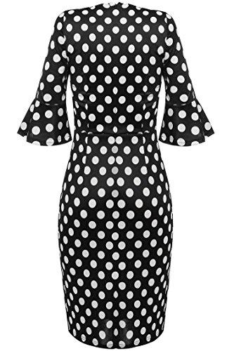 ... ANGVNS Polka Dots Kleid 50er Jahre Rockabilly Kleid Vintage Festliche  Kleider Businesskleid Knielang Schwarz ...