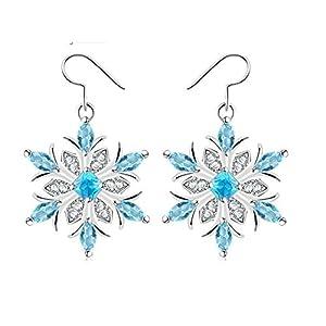 AieniD Schmuck Kupfer Ohrringe Für Damen Damen Ohrringe Perlen Schneeflocke Silber Blau Größe:2.5X2.5CM