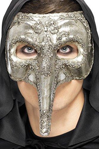 Smiffys, Herren Venezianische Augenmaske, One Size, Silber, (Maske Lange Kostüm Nase Venezianische)