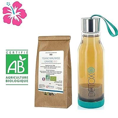 Tisane minceur mauvaise graisse Bio à base d'artichaut + Bouteille infuseur detox - Fabriquée en France - Cure 15 jours - Des ingrédients 100% naturels pour atteindre vos objectifs bien-être et minceur.