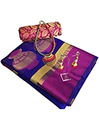 SilverStar Women's Cotton Silk Matka Jacquard Work Saree With Heavy Brocade Work Blouse Pices With Necklace And...