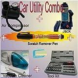 Salute Warriors Car Utility Combo kit 3 Tonn Jack, Vaccum Cleaner, Air Pressure Pump 300 PSI (Multicolour, Large)