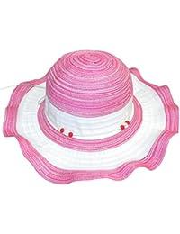 EveryHead Sombrero De Mujer Tela Verano Playa Equinácea Paja Vacaciones  Niñas Dos Colores Con Cordón Cuentas ddd7958b8af