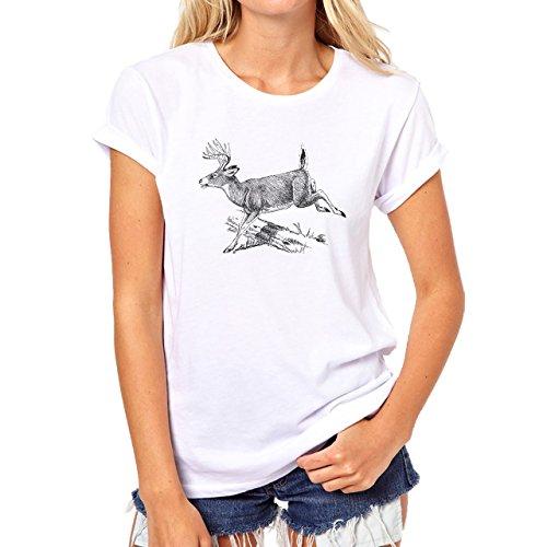 Deer Animal Wood Creature Horns Pen Painting Black Damen T-Shirt Weiß