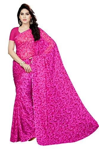 Rani Saahiba Floral Printed Chiffon Saree Without Blouse ( SKR3481_Pink )