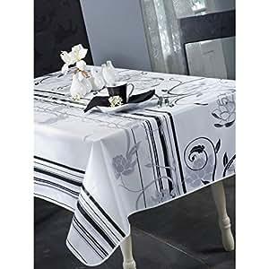 Calitex DESIGN Nappe en Toile Cirée Rectangulaire PVC Blanc 250 x 140 cm