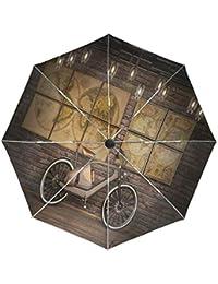 Wamika - Paraguas automático para Bicicleta, diseño Vintage de Mapa del Mundo, Resistente al
