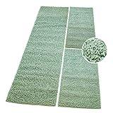 carpet city Shaggy Bettumrandung Hochflor-Teppiche in Pastell-Grün, Mint, Einfarbig für Schlafzimmer, 3-teiliges Läufer-Set: 2X 70x140 cm und 1x 70x250 cm