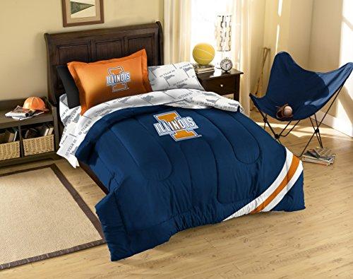 NCAA Illinois Illini Twin Tröster, Blatt und Sham (5Stück Bett in einer Tasche) -