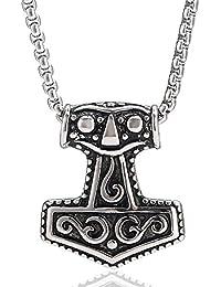 Collar para hombres con colgante de martillo de Thor, de acero inoxidable/viene en bolsa de joyas de color negro, de Dondon