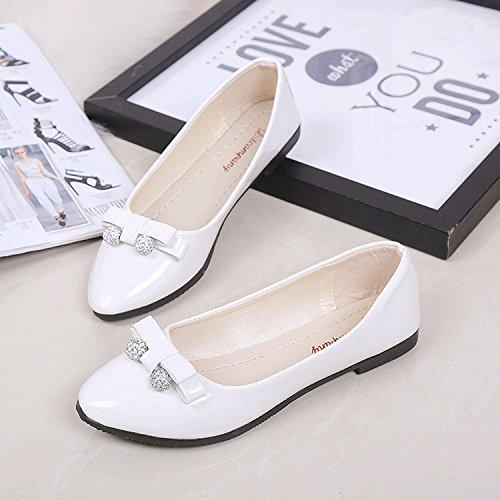 Gaorui scarpe ballerina per donne, casual, per sera o lavoro, estive, con fiocco e perle Nero