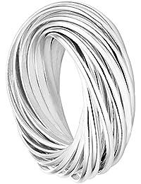 Vinani Multi 3er Ring Wickelring massiv glänzend beweglich Sterling Silber 925 Dreierring 2R3N