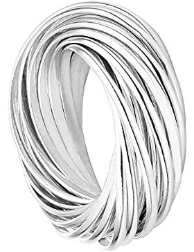 Vinani Multi 25er Ring Wickelring massiv glänzend beweglich Sterling Silber 925 Dreierring 2R3N
