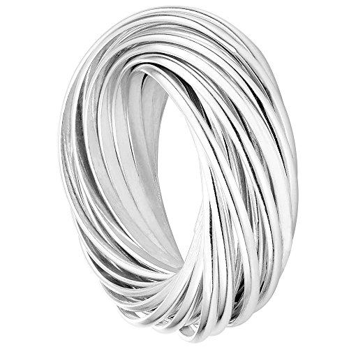 Vinani Multi 3er Ring Wickelring massiv glänzend beweglich Sterling Silber 925 Dreierring Größe 64 (20.4) 2R3N-64