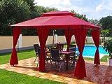 Groten Luxus Cenador, 3x 4m, impermeable, poliéster, con 6 cortinas, para fiestas y Oktoberfest, colores a elegir, rojo