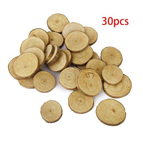 3-4 cm Holz Holzscheiben Scheiben Natur Baumrinde Tischdeko DIY Basteln Hochzeit Tafelaufsatz rund 30pcs Wie abgebildet