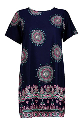 Marine Femmes Patricia Paisley Border Print Shift Dress Marine