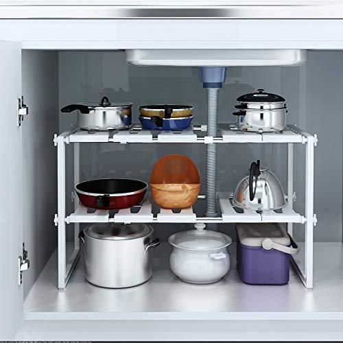 Kurtzy Under Sink Tawa Rack Stainless Steel Shelf Extendable Storage Organizer Holder for Home Kitchen and Bathroom