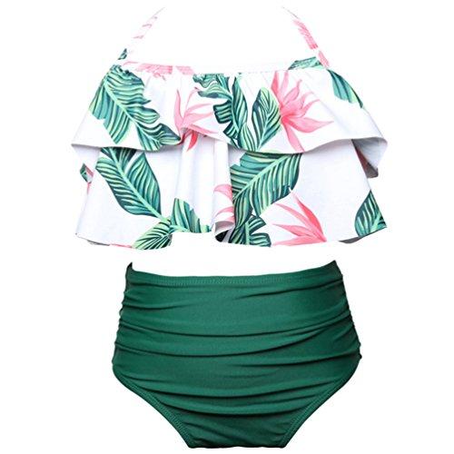 JEELINBORE Traje de Baño de Dos Piezas Bañador Cintura Alta Estampado Push Up Bikini Monokini Madre e Hija Familia (Hojas/Verde, 104 Niñas)