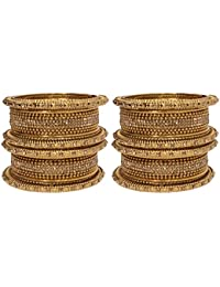 Mansiyaorange Traditional Fancy Designer Party Wedding Wear Original Hand Work Antique Rodium Silver Bangle Set...