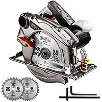 Sierra Circular, 1500W 3m Cable, Tacklife 185mm Hoja (Compatible 190mm), Corte 63mm (90º), 45mm (45º), 4500RPM, Protector de Aluminio, Motor de Cobre Puro, Cortar Madera Plástico Metal Blando PES01A