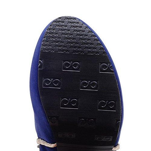VogueZone009 Damen Hoher Absatz Niedrig Spitze Rein Reißverschluss Stiefel mit Metallisch Blau