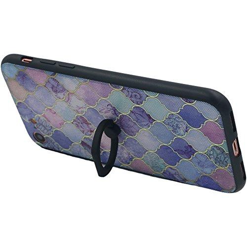 Coque iPhone 7, TrendyBox Transparent Noir Givré Anti-rayures Rotation Bague Case pour iPhone 7 avec verre trempe film de protection (Dentelle Fleurs) 1016