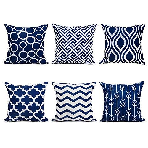 wuayi 6 Stück/Set Fashion Geometrische quadratische Dekorative Überwurf-Kissenbezüge für Zuhause Sofa Dekor, Baumwollmischung, Navy, 45 x 45 cm -