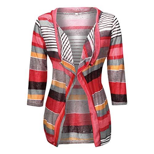 Floweworld Damen Gestreifte Strickjacke Lässige Geometrische Print Colorblock Langarm Oversized Oberbekleidung Lose Strickjacke Mantel