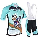 BXIO Completo Abbigliamento Ciclismo, Maglia Ciclismo Maniche Corte con Pantaloncini Abbigliamento da Ciclismo Asciugatura Rapida per MTB Ciclista, Azzurro, XL