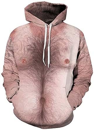 TDOLAH Herren Bunt Digitaldruck Kapuzenpullover 3D-Druck Hoodie Langarm Pullover Sweatshirts (Größe L / XL, A-Brusthaar)