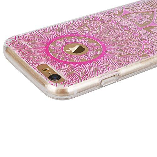 GrandEver Coque iPhone 6 Plus et iPhone 6s Plus Transparente Silicone Gel avec Mandal Noir Motif Fine Design Bumper Utra Mice Soft Doux Flexible Case Etui Cover Housse Mandal Rose