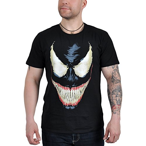 Spider-Man Men's T-Shirt Venom Smile for Marvel Comic Fans Cotton Black - M