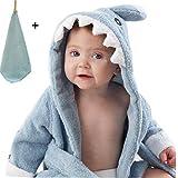 yocome bebé tiburón con capucha albornoz, toalla de baño y manopla Conjunto para recién nacido, niños, bebés, niños