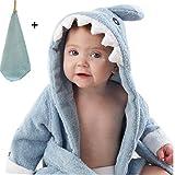 yocome Baby Shark Bademantel mit Kapuze Badetuch und Waschlappen Set für Neugeborene, Kleinkinder, Säuglinge blau