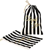 ling's moment 10pcs Gatsby Style Wedding Party Gift Favor Bags 5x7 inch Bachelorette Party Black White Striped Thank You Gift Bags Hangover Kit Bags